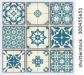 collection of 9 ceramic tiles ... | Shutterstock .eps vector #300455651