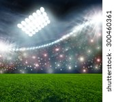 soccer ball on green stadium...   Shutterstock . vector #300460361