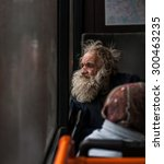 Sad Homeless Old Man In Public...