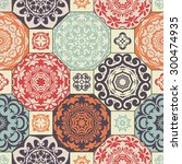 seamless patchwork pattern from ... | Shutterstock .eps vector #300474935