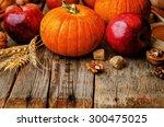 wood background with pumpkin ... | Shutterstock . vector #300475025