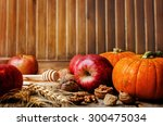 wood background with pumpkin ... | Shutterstock . vector #300475034