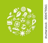 ecology icons in circle   Shutterstock .eps vector #300475061