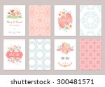 romantic vintage cards... | Shutterstock .eps vector #300481571