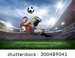 football player with ball on... | Shutterstock . vector #300489041