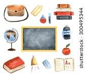 watercolor school objects... | Shutterstock . vector #300495344