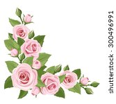 Stock vector vector corner background with pink roses and green leaves 300496991
