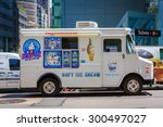 white ice cream truck on a... | Shutterstock . vector #300497027