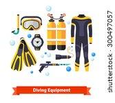 diving equipment icons set ... | Shutterstock .eps vector #300497057