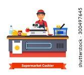 supermarket store counter desk... | Shutterstock .eps vector #300497645