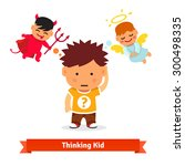 thinking kid making tough... | Shutterstock .eps vector #300498335