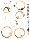 coffee stain rings set of six... | Shutterstock .eps vector #300505841
