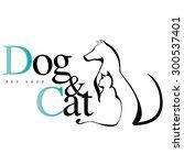 Stock vector dog cat logo for pet shop vet 300537401