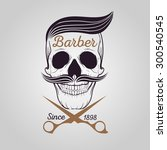 retro barber shop logo  skull... | Shutterstock .eps vector #300540545