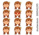Girl Emotions  Vector  Set...