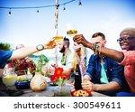 beach summer dinner party... | Shutterstock . vector #300549611
