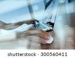 double exposure of business man ... | Shutterstock . vector #300560411