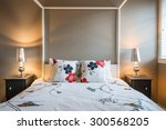 beautiful rustic bedroom.... | Shutterstock . vector #300568205