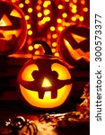 jack o lanterns burning in... | Shutterstock . vector #300573377
