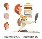 smart clever student holding... | Shutterstock .eps vector #300608615