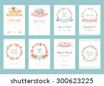 romantic vintage cards... | Shutterstock .eps vector #300623225