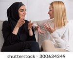 two beautiful girls of... | Shutterstock . vector #300634349