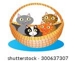 Stock vector a cartoon basket a cute little kittens 300637307