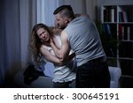 husband beating and smothering... | Shutterstock . vector #300645191