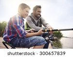 fishing by the lake is our... | Shutterstock . vector #300657839