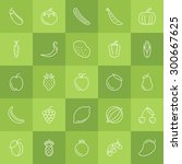 fruits and vegetables icon set  ... | Shutterstock .eps vector #300667625