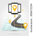 phone location on map travel... | Shutterstock .eps vector #300672254