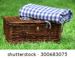 wicker picnic basket  and plaid ... | Shutterstock . vector #300683075