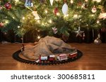 Toy Train Beneath A Decorated...