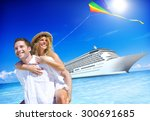 couple beach bonding romance... | Shutterstock . vector #300691685
