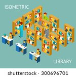 library in isometric flat style.... | Shutterstock .eps vector #300696701