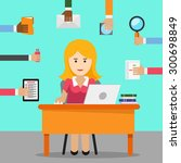 secretary. busy woman for... | Shutterstock .eps vector #300698849