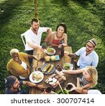 diverse people luncheon food... | Shutterstock . vector #300707414