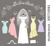 wedding dresses hanging.fashion ... | Shutterstock .eps vector #300710081