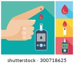 diabetes blood glucose test  ... | Shutterstock .eps vector #300718625