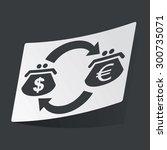 white sticker with exchange...