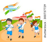 indian kid hoisting flag of... | Shutterstock .eps vector #300737729