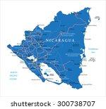 nicaragua  map | Shutterstock .eps vector #300738707
