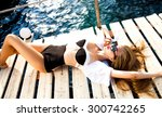 outdoor sexy women wear crop... | Shutterstock . vector #300742265