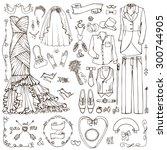 wedding fashion dress wear... | Shutterstock .eps vector #300744905