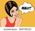 pop art cute retro woman in... | Shutterstock .eps vector #300750221