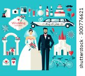 wedding symbols set. flat icons ... | Shutterstock .eps vector #300776621