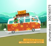 youth traveling by a vintage... | Shutterstock .eps vector #300780575