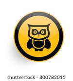 owl icon on yellow button... | Shutterstock .eps vector #300782015