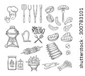 bbq feast party set vintage... | Shutterstock .eps vector #300783101