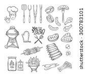 bbq feast party set vintage... | Shutterstock .eps vector #300783101